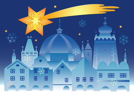 christmas flake: Vector illustration of historical winter town with bethlehem star . Illustration