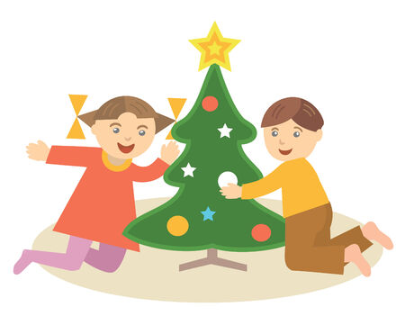 Children decorating christmas tree, vector illustration Vector