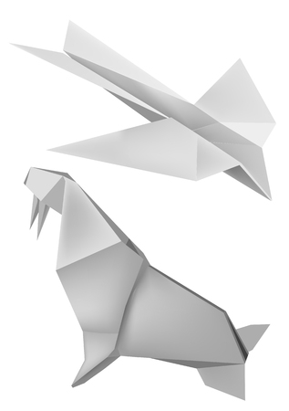 Illustration of folded paper models walrus and aeroplane. Vector