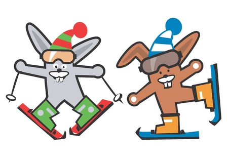 skiers: Two rabbits skiers.   Illustration