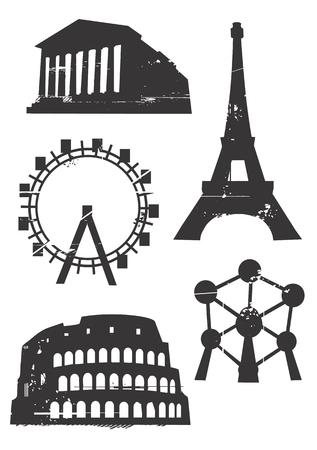 Silhouetten van beroemde Europese gebouwen