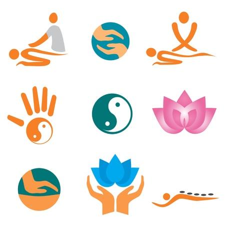 sports massage: Conjunto de iconos de masaje, cura bienestar y spa.  Vectores