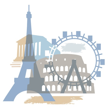 guia turistica: Collage de famoso edificio europeo.