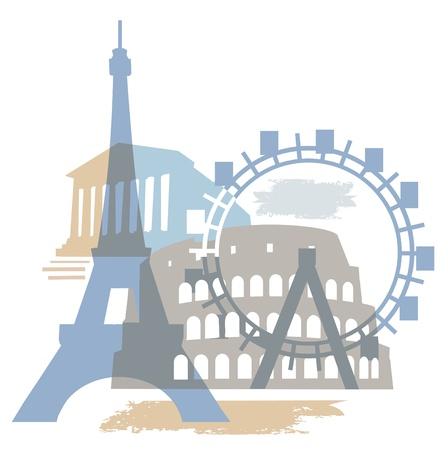 Kolaż Europejskiego słynnego budynku.