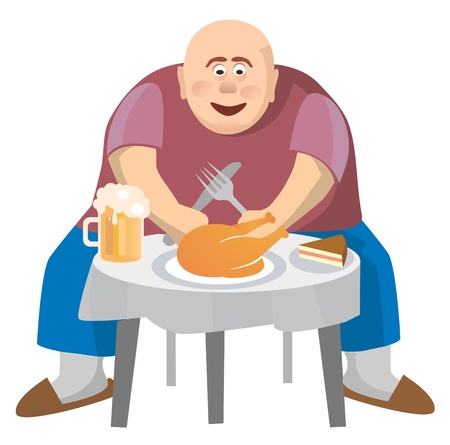 bald cartoon: Fat man at a crowded table. Isolated on white background. Vector illustration.