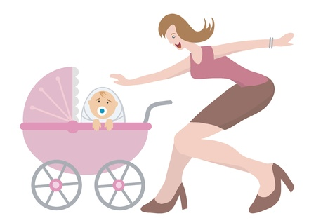buggy: Happy woman with newborn child in a baby coach.Vector illustration.