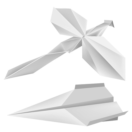 Illustration of folded paper models dragonfly and aeroplane. Vector