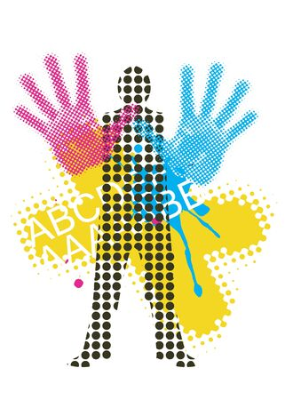 printing industry: Raster silhouette printers with outstretched hand with print colors. Vector illustration.