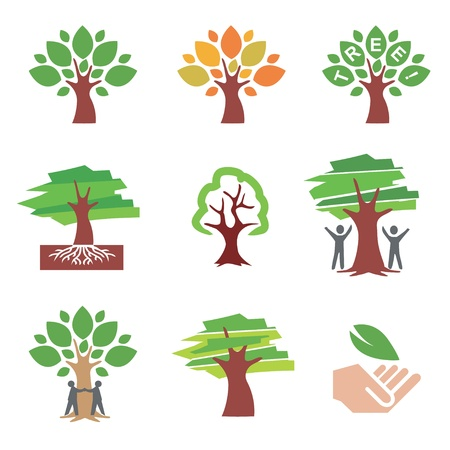 Set of tree icons and ilustrations. Vector illustration.