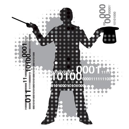 computer hacker: Silhouette di un mago contro uno sfondo astratto.