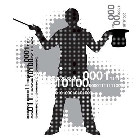computer hacker: Silhouette of a magician against a abstract background.