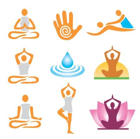 terapias alternativas: Conjunto de iconos de masaje y spa de yoga. Ilustraci�n vectorial. Vectores