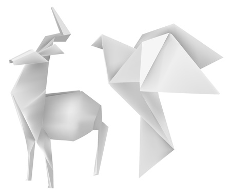 origami bird: illustration of folded paper models deer and dove.  Illustration