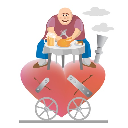 torn heart: Fat man eating and siting on his torn heart.  Illustration