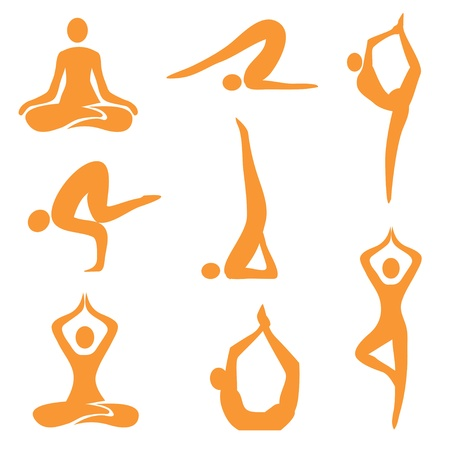Icons of eight different yoga positions. Vector illustration.