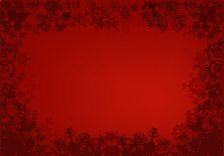 Red grunge background with snowflakes frame.