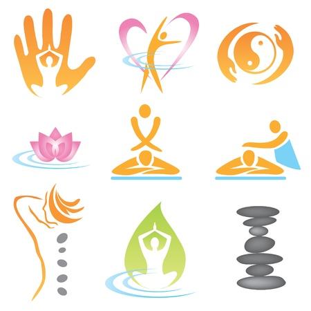 terapias alternativas: Conjunto de iconos de masaje, cura bienestar y spa. Ilustraci�n vectorial.