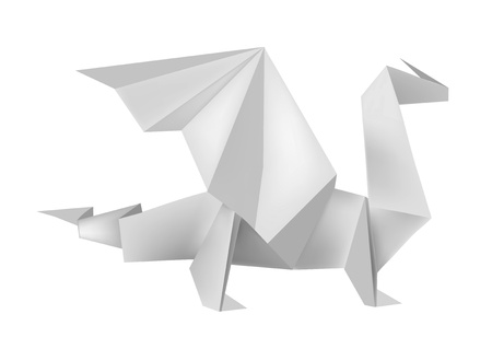 illustration of folded paper model dragon.