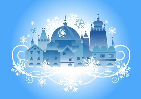 sights: illustration of lovely historical winter town.