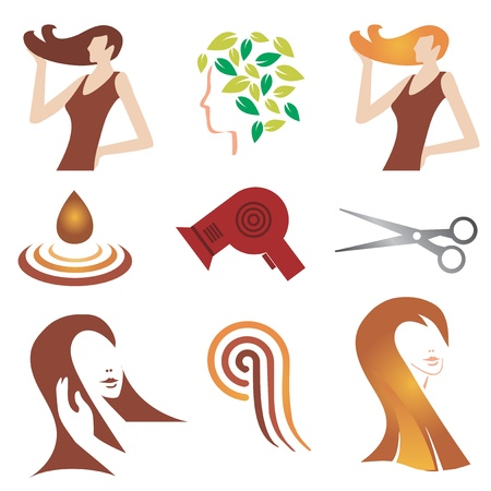 hair shampoo: Set of hair cosmetic and  hair stylist icons. illustration.