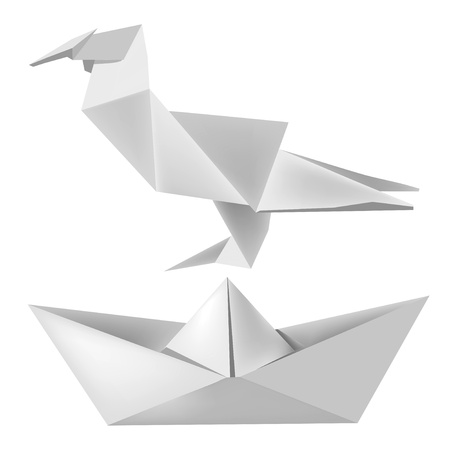 toy boat: Illustration of folded paper model bird and boat