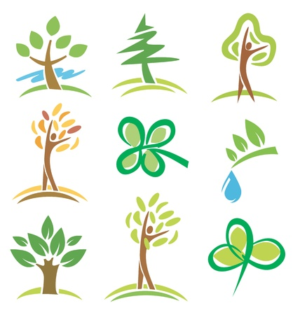 Set of icons  trees and plants.  Vector
