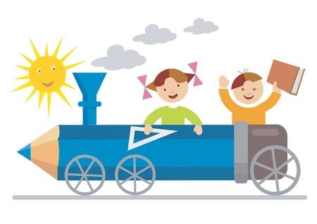 Niño y la niña montado en la locomotora de lápices de colores.