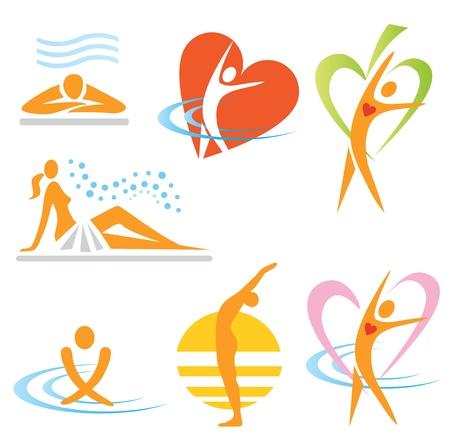 zdraví: Sada zdraví, sauna, lázně ikony. Vektorové ilustrace.