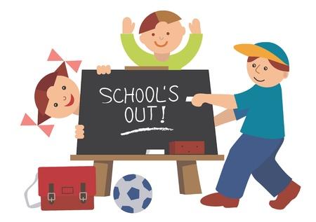 school table: School blackboard with children - vector illustration
