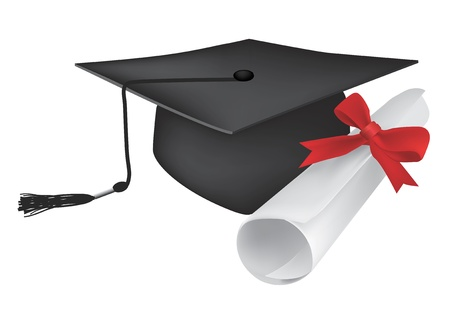 Illustration of a diploma and mortarboard cap symbolizing graduation. Cap and diploma can be used separately. Vector illustration.