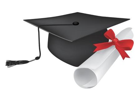 birrete: Ilustración de un diploma y una gorra que simboliza birrete de graduación. Cap y diploma se puede utilizar por separado. Ilustración del vector.