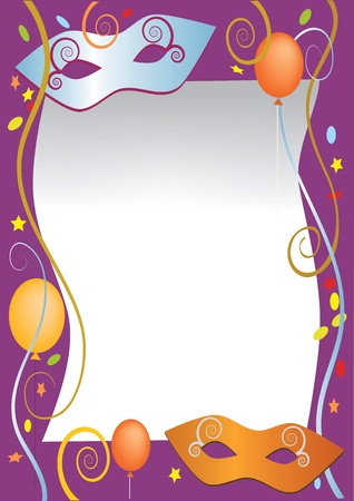 Vector illustration as background for carnival and party invitation cards with colored balloons and confetti.