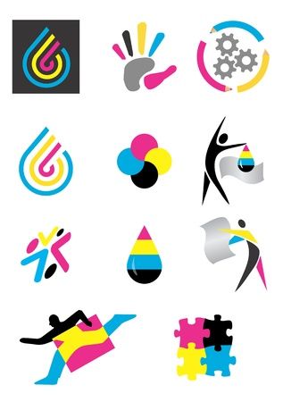 a print: Several icons of printing for use on a company emblem. Vector illustration