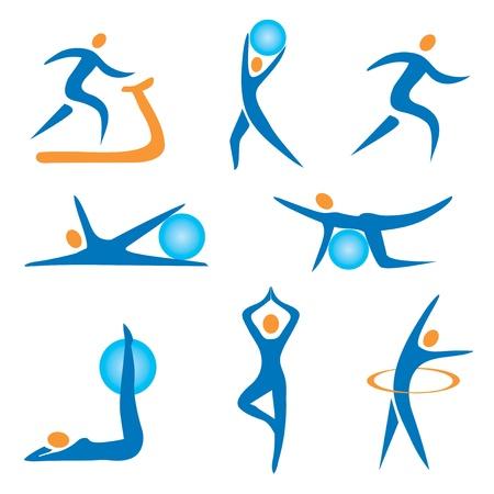 fitness ball: Juego de deporte, fitness, ejercicios iconos de colores.