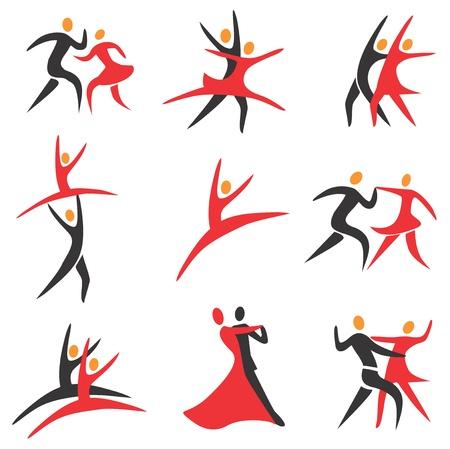 danza moderna: Juego de sal�n de baile, discoteca, ballet, danza modren iconos de colores. Vectores