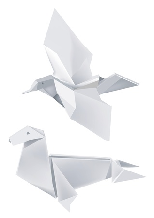 Illustration of folded paper models, seal and bird on white background. illustration. Vector
