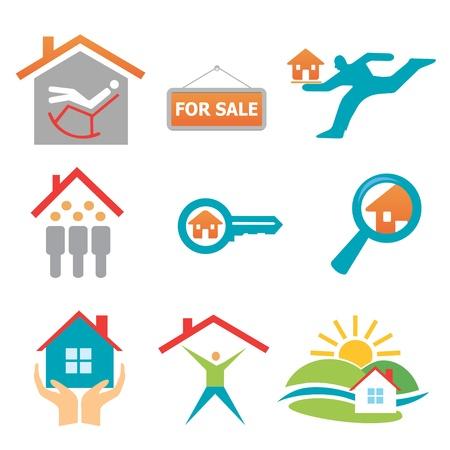 llave de sol: Colección de bienes inmuebles, los iconos de la propiedad. formato.