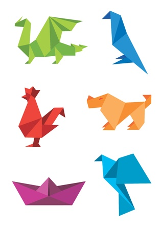 Set of origami colorful icons, animals and boat. illustration.