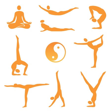 asana: Icons of nine different yoga positions. illustration.