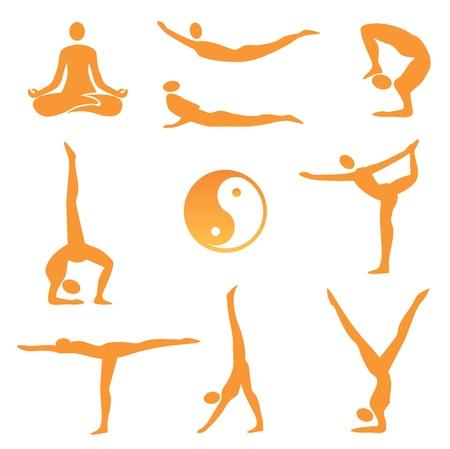 guru: Icons of nine different yoga positions. illustration.