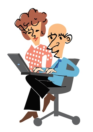 pensioen: Manager op een stoel met een laptop en zijn secretaresse
