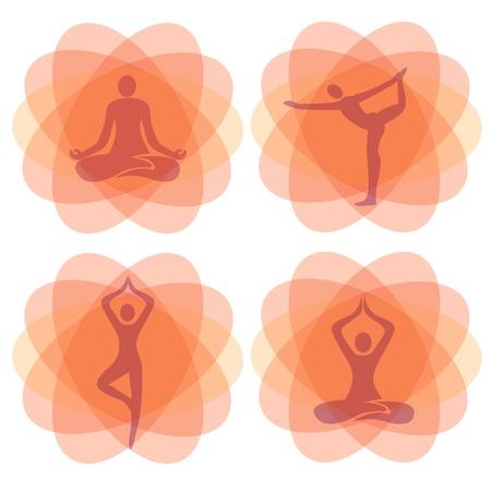 yoga meditation: Arancione meditazione yoga sfondi con posizioni yoga. Illustrazione Vectro.