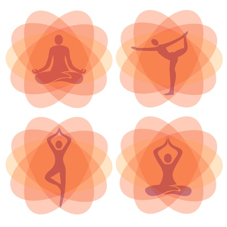 asana: Orange yoga meditation backgrounds with  yoga positions. Vectro illustration.