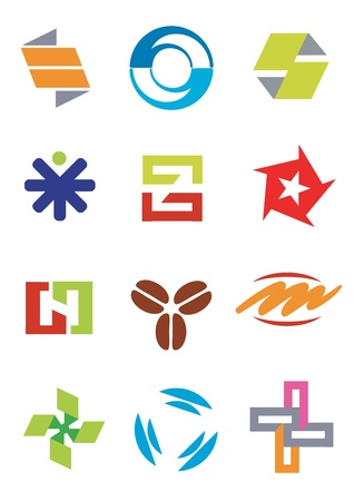 simple logo: Several symbols and icons for company logos. Vector illustration.