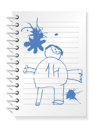 Vector illustration of notepad with children drawing and blobs Vector