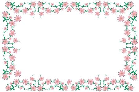 wedding photography: Pink floral decorativ frame on white background. Vector illustration