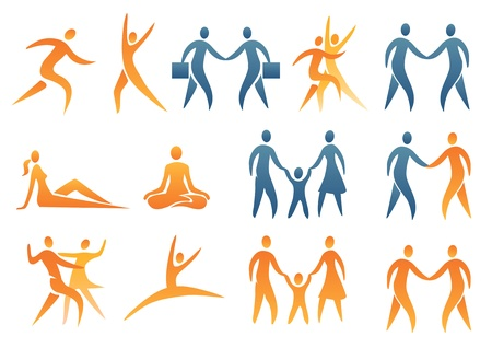 Set of abstract human figures. Vector illustration. Vector