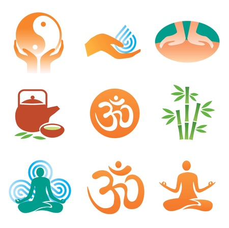 Set mit Massage, Yoga, Wellness-Ikonen. Vektor-Illustration.