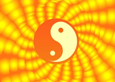 Yin & Yang on the yellow sun background. Vector illustration. Vector