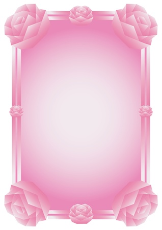 Decorative pink rose floral frame with space for text, applicable for wedding invitation. Vector illustration. Vector